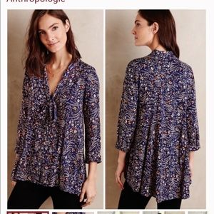 Maeve floral tie up blouse long sleeve XS